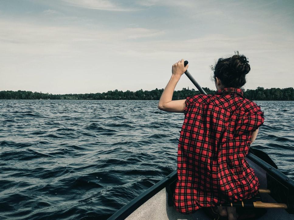 woman on a canoe