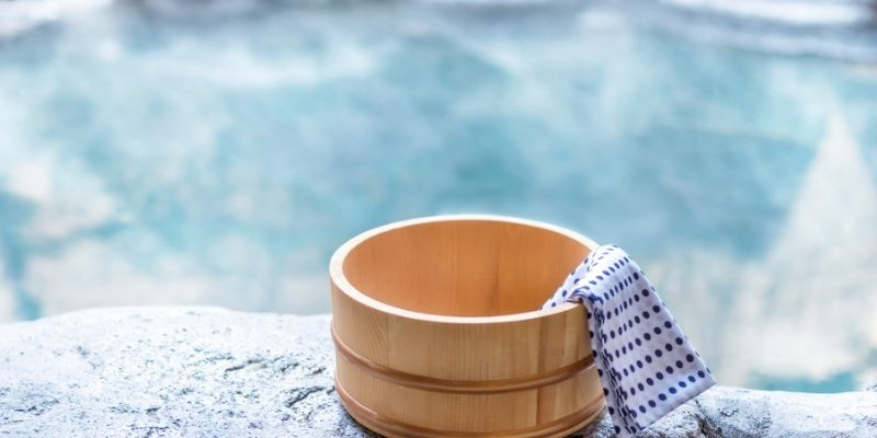 wooden bowl by hot springs